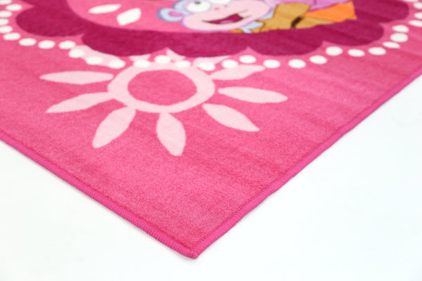 Non Slip Pink Kids Nickelodeon Dora The Explorer And Boots Love Heart Rug