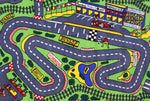 Non Slip Green Kids Grand Prix Race Track Road Area Rug Baby Play Mat 100x150 cm .
