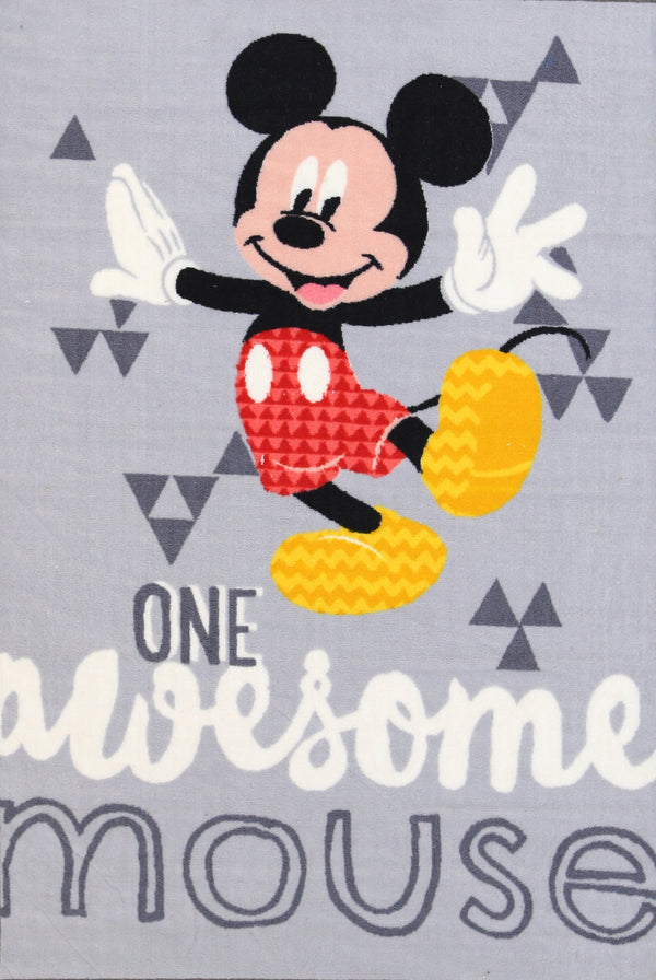 Non Slip Grey Kids Disney Mickey Mouse Awesome Area Rug Baby Play Mat 100x150 cm .