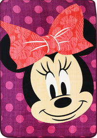 Non Slip Purple Kids Disney Mickey Minnie Mouse Smiling Polka Dot Area Rug Baby Play Mat 100x150cm