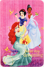 Non Slip Pink Multicolour Disney Princess Never Stop Dreaming Princesses Kids Area Rug Baby Play Mat 100x150cm