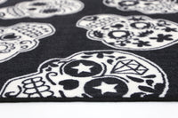 Non Slip Black White Kids Sugar Skulls Rug