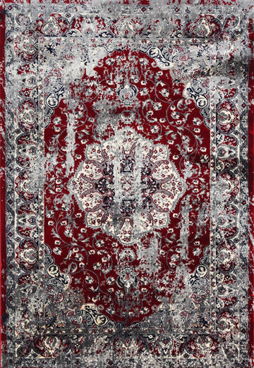 MINA RED GREY PERSIAN MEDALLION