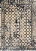 Dragan Ivory And Steel Grey Distressed Traditional Vintage Persian Border Rug