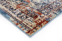 Dragan Transitional Oriental Medallion Blue And Multi Distressed Silky Viscose Rug