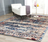 Artifact Transitional Oriental Medallion Blue and Multi Distressed Silky Viscose Rug