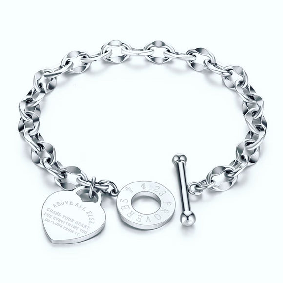 Silver Proverbs 4:23 Heart Charm Bracelet