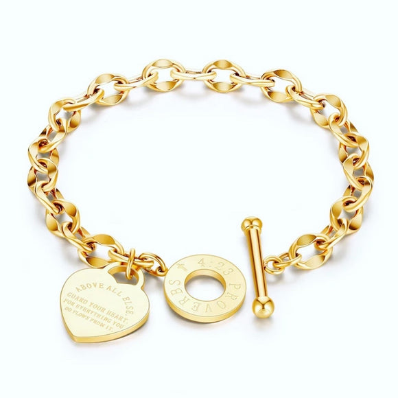 Gold Proverbs 4:23 Heart Charm Bracelet