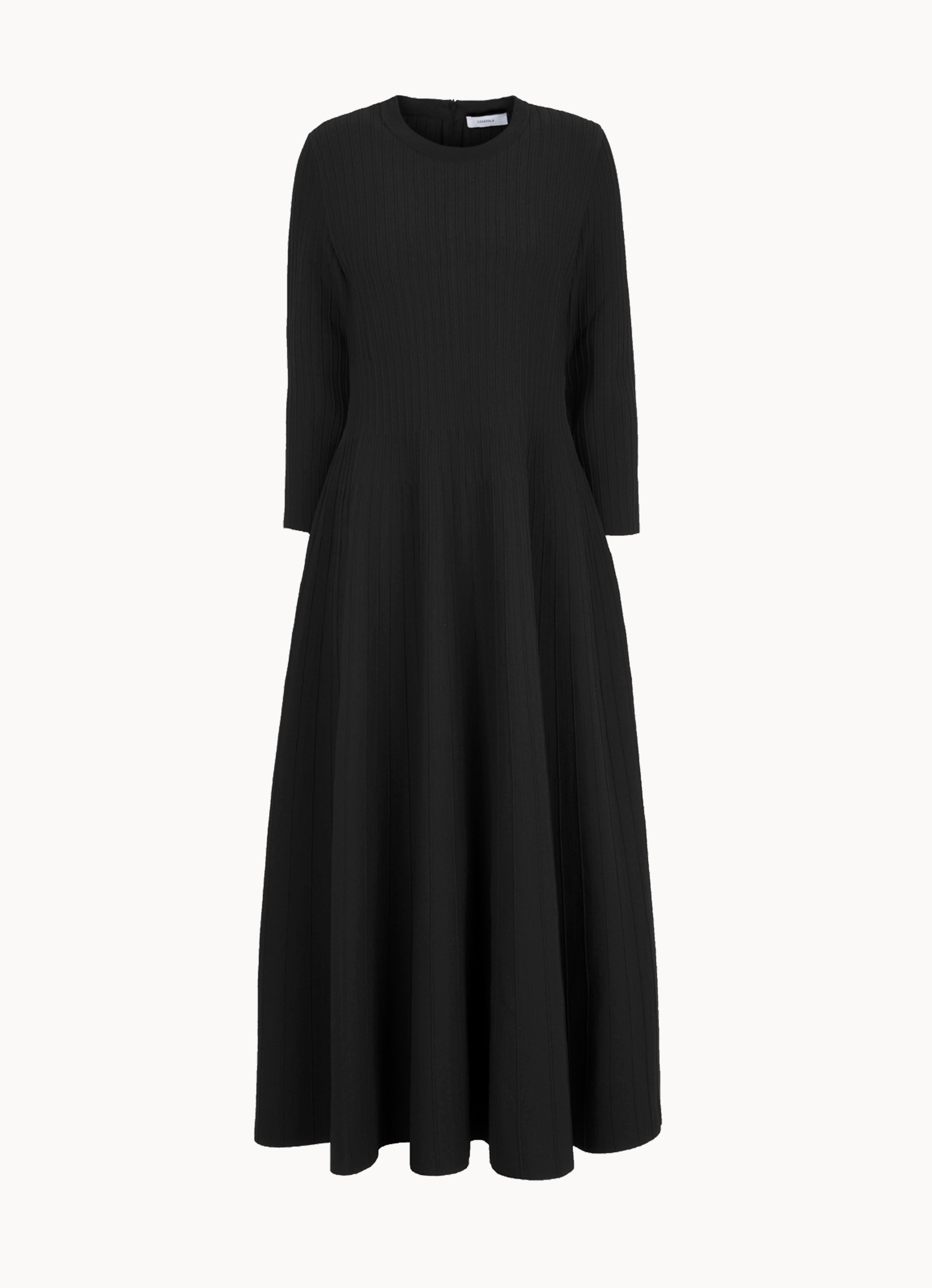 Stretch-knit long-sleeve crewneck midi dress