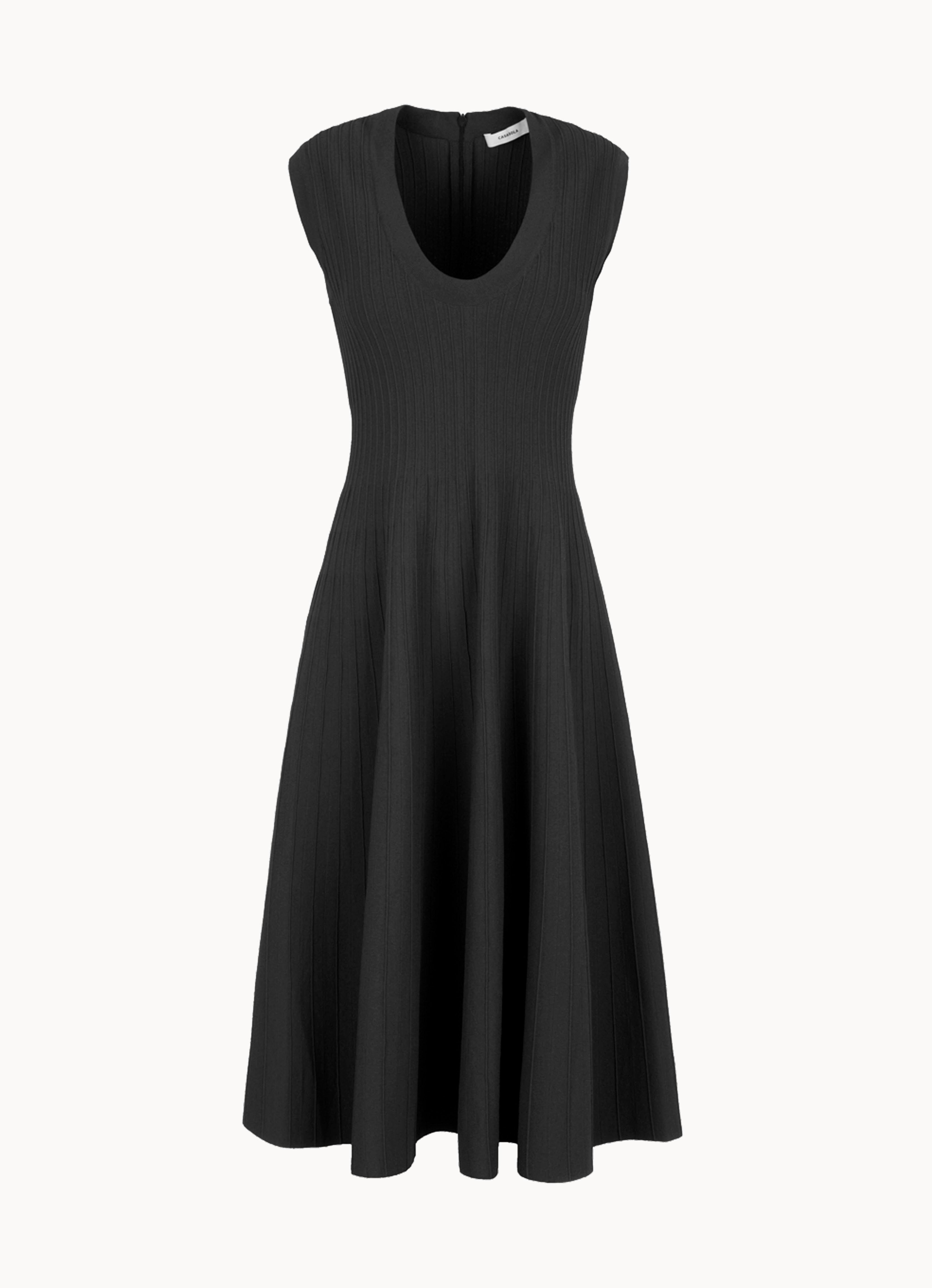 Viscose-knit sleeveless low-neck midi dress