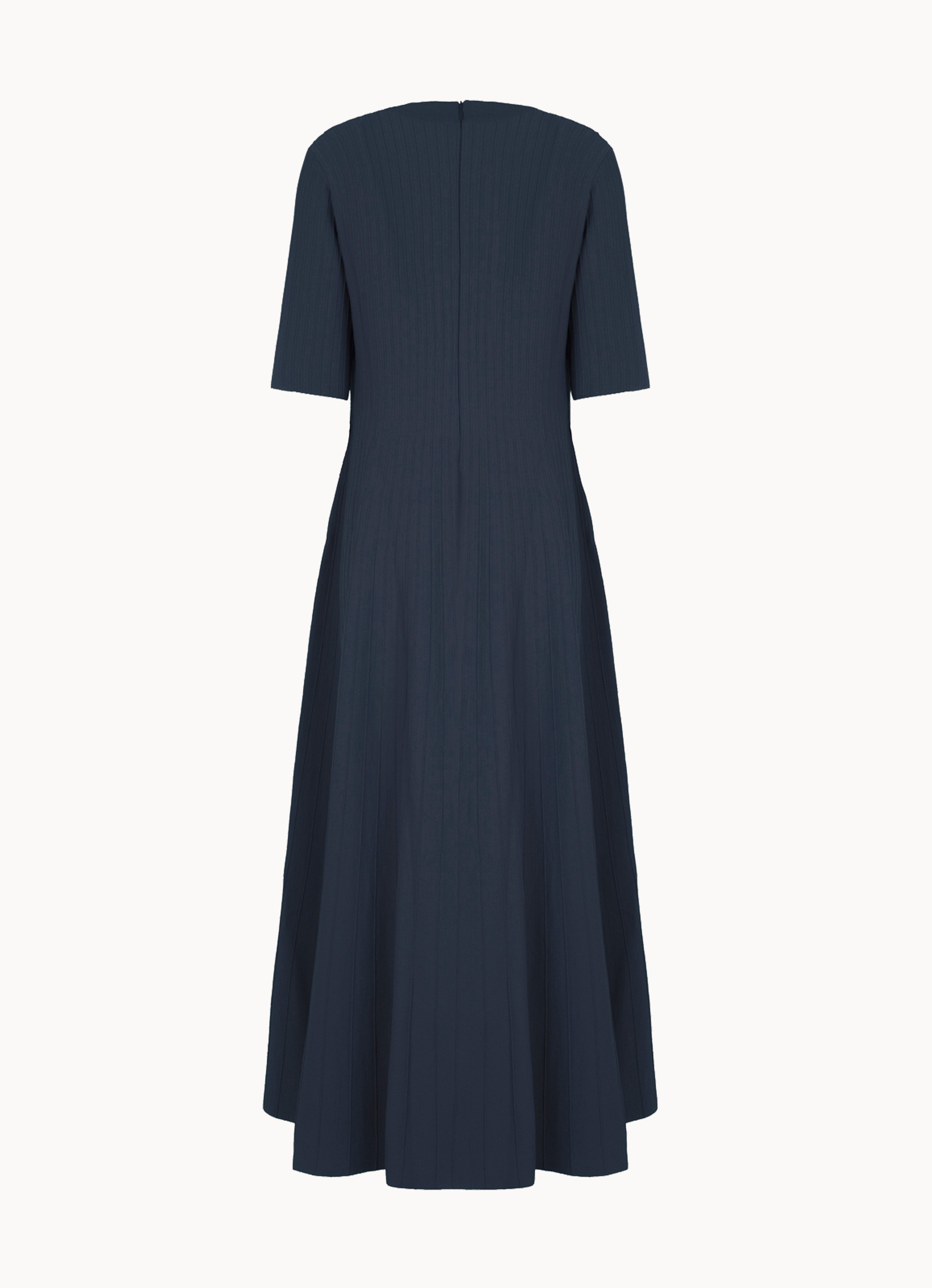 Stretch-knit low-neck midi dress