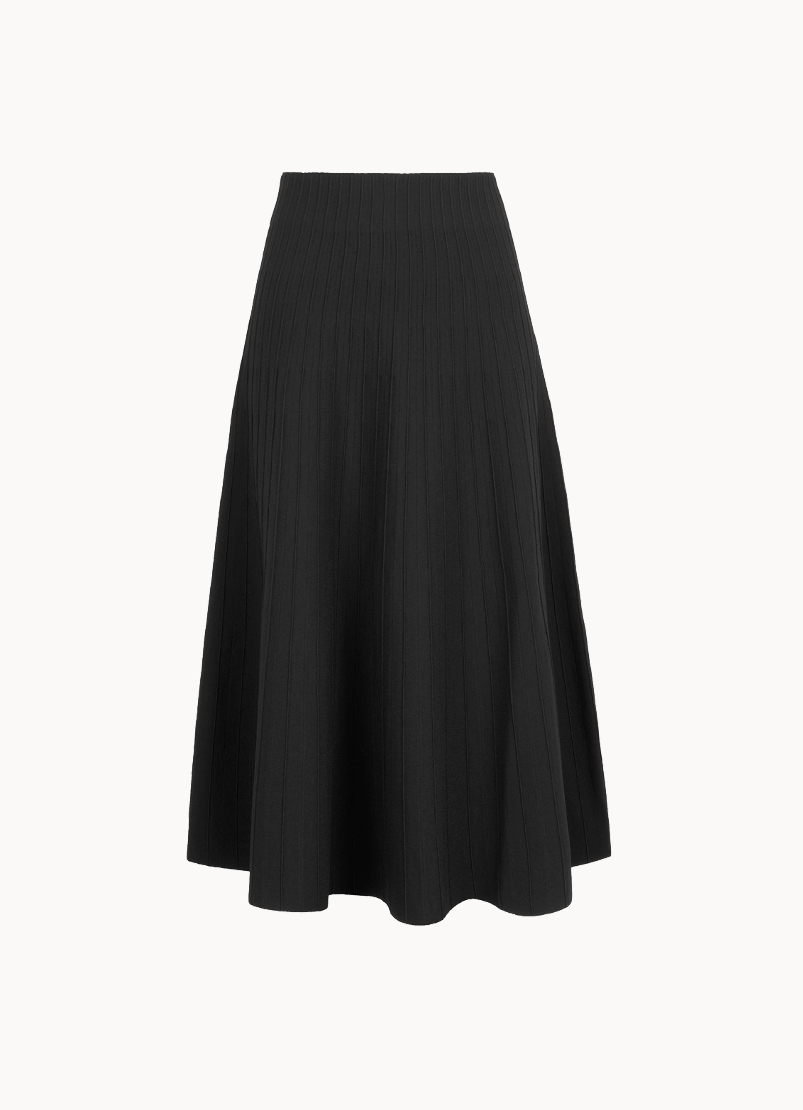 High-Waist Viscose-Knit Knee-Length Skirt