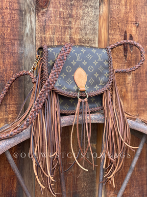 Authentic Louis Vuitton Monogram St Cloud GM Custom Braided Leather Side Fringe