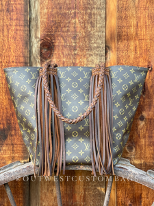 Authentic Louis Vuitton Sac Shopping Revamped LV Custom Braided Leather Fringe