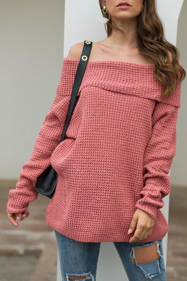 Off Shoulder Solid Long Sleeve Knitted Sweaters