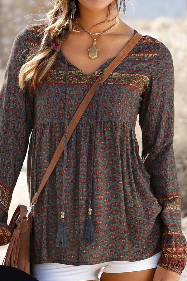 Bohemian Print Long Sleeves Tassel Blouse