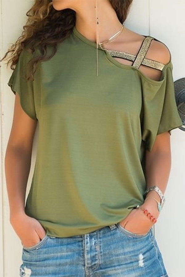 Asymmetrical Hlollow Out Sequin Cross Neck Tee