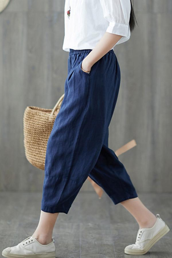 Stretch Waist Pockets Solid Cropped Pants