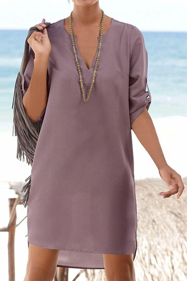 Casual V Neck Solid Loose Shirt Dress