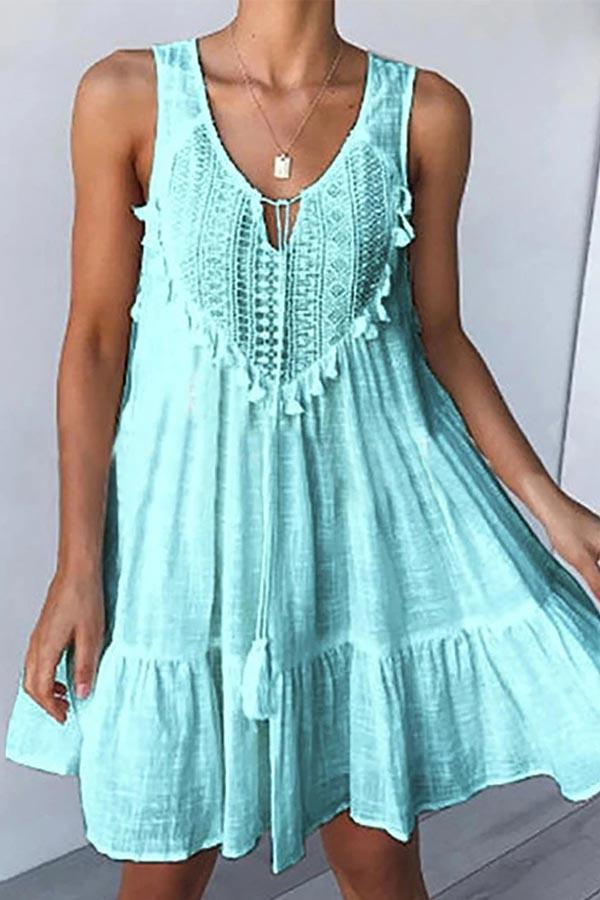 Solid Casual V Neck Sleeveless Tassel Mini Dress