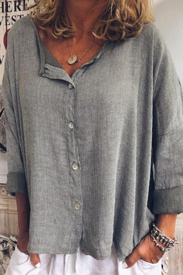 Buttoned Linen Long Sleeves Solid Blouses