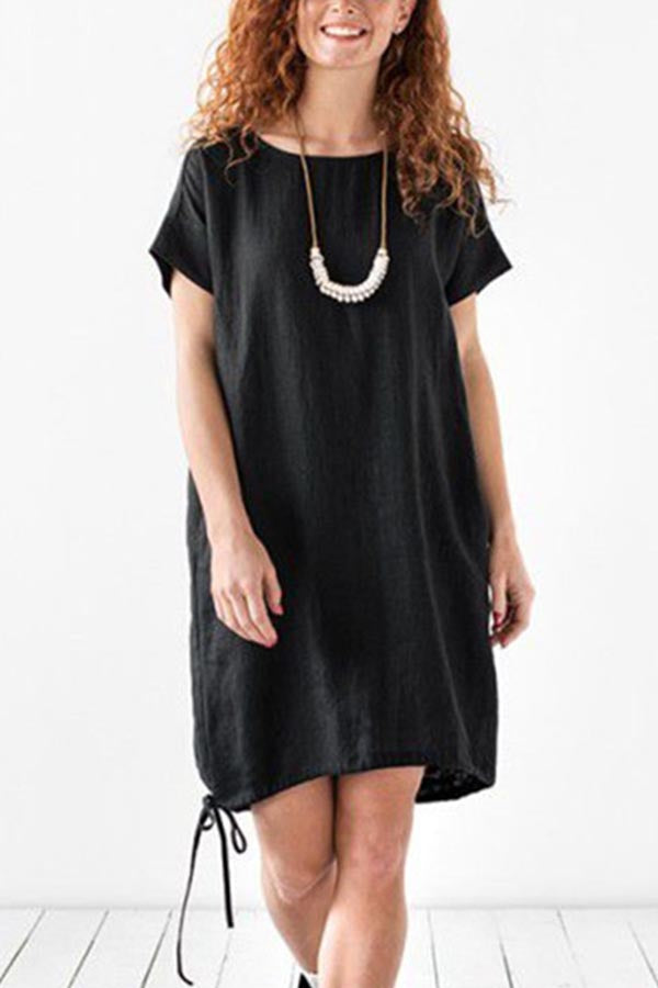 Casual Solid Round Loose Short Sleeves Midi Dress