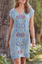 Vintage Geometric Short Sleeves Midi Dress