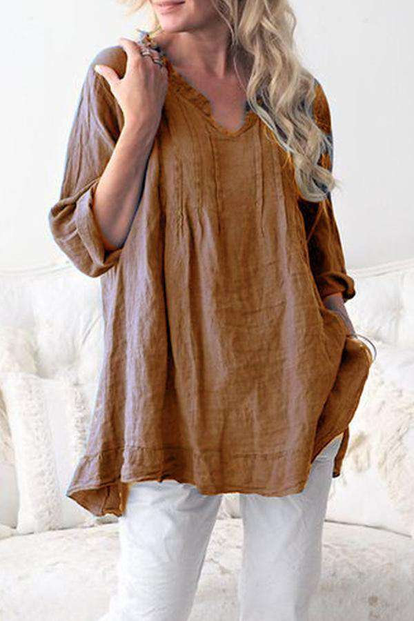 Linen V-neck Long Sleeves Loose Blouse