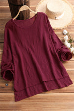 Round Neck High Low Hem Long Sleeves Blouse