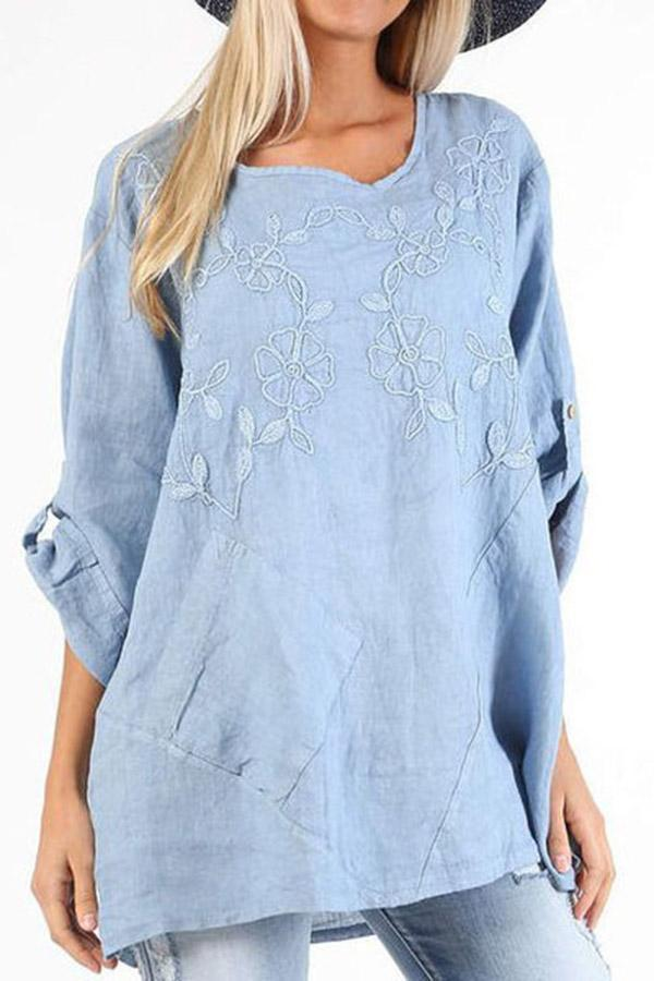 Embroidery Casual Floral Linen T-shirts