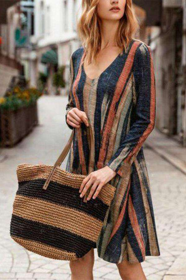 A-Line Daily Vintage Printed Linen Dress