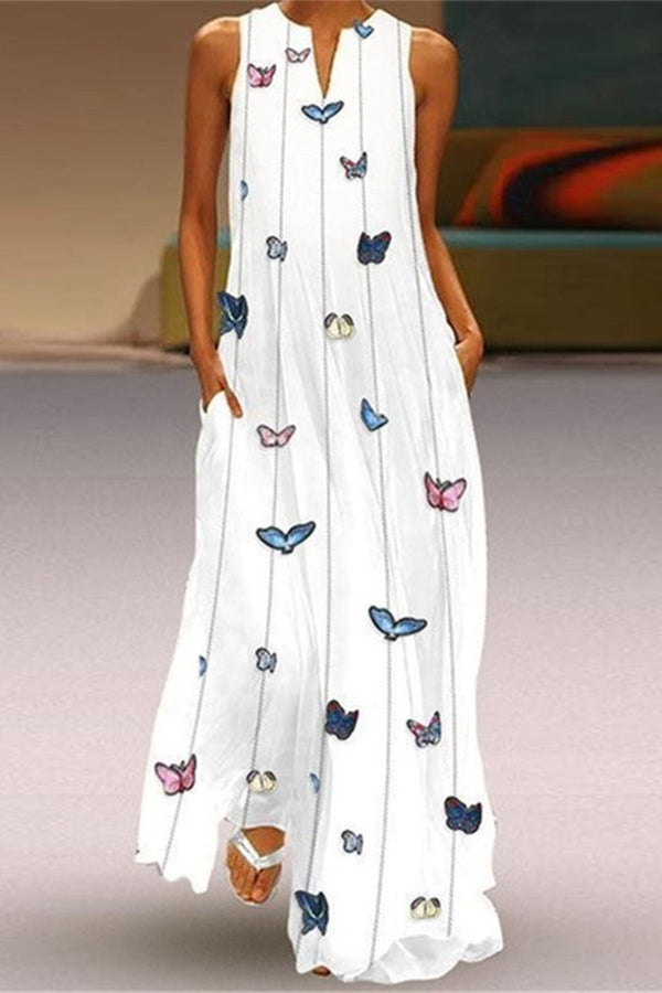 Bohemian Butterfly Print V-neck Pockets Maxi Dress