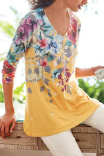 Floral Print V-neck Casual Long Sleeves T-shirts