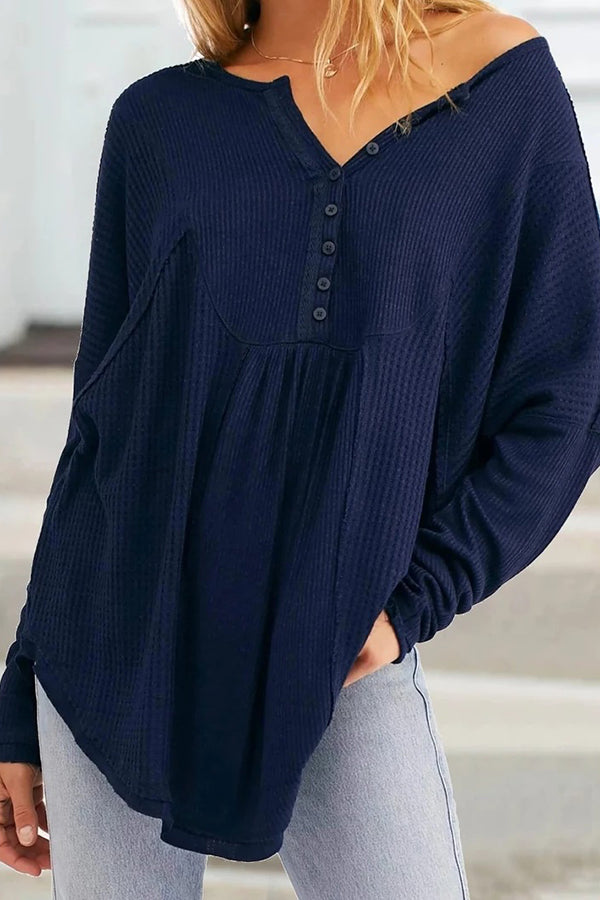 Plus Size Solid Button Down Ruffle Blouse