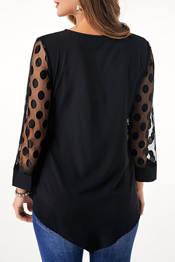 Sheer Sleeves Button Trim Solid Blouse
