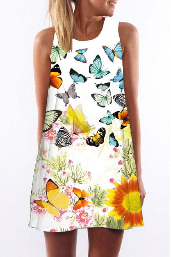 Butterfly Floral Print Sleeveless Holiday Mini Dress