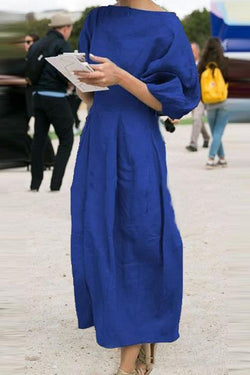 Linen Solid Casual Half Sleeves Maxi Dress