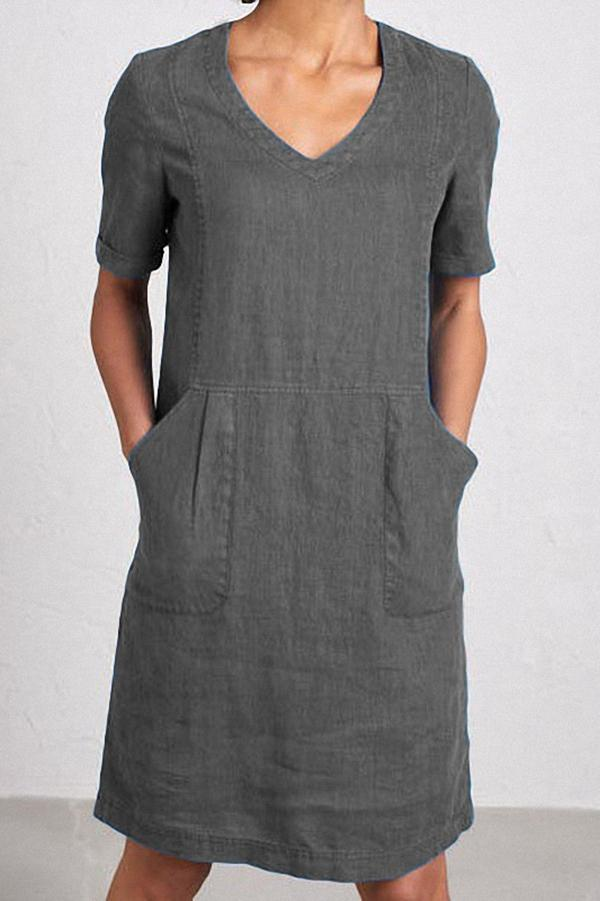 Solid Linen Pockets Short Sleeve Midi Dress
