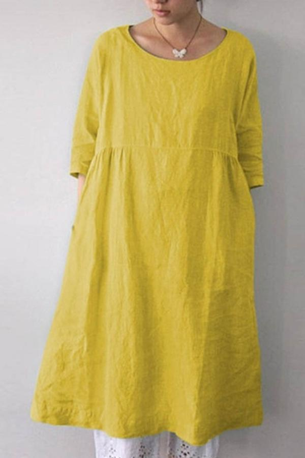 Round Neck Half Sleeves Midi Linen Dress
