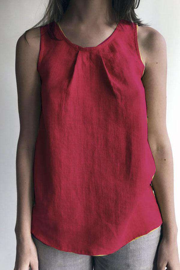Linen Sleeveless Casual Crew Neck Solid Tank Top