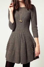 Round Neck Ruffle Knitted Mini Dress