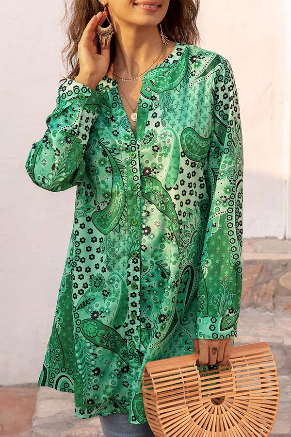 Casual Buttoned Long Sleeves Print Shift Blouses