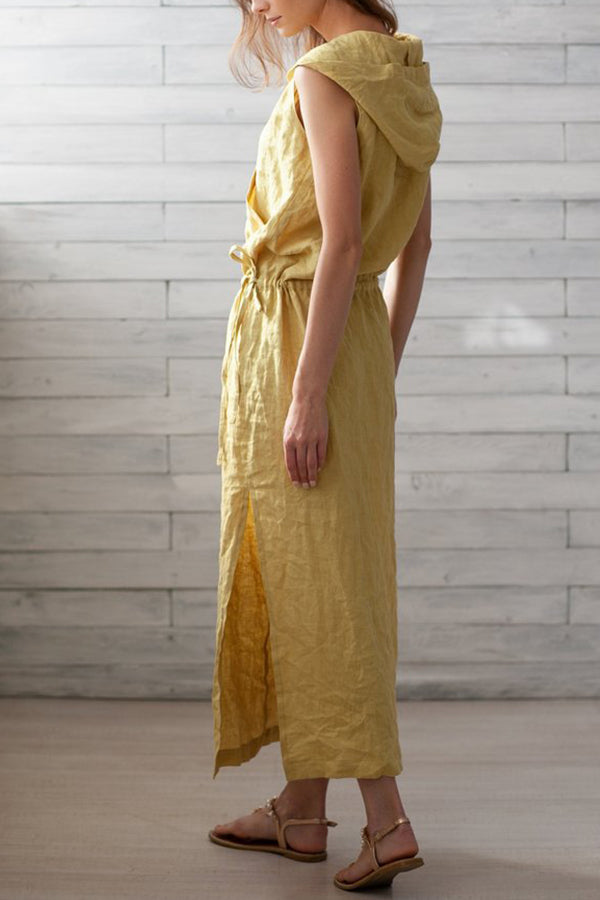 Casual Elastic Waist Tunic Maxi Linen Hooded Dress