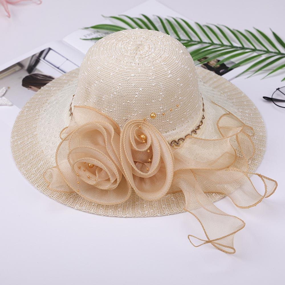 Flower Decoration Solid Paneled Beach Bucket Hats