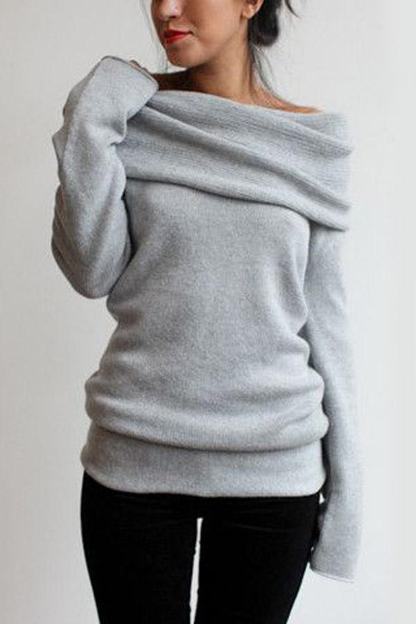 Off Shoulder  Long Sleeves Sweaters