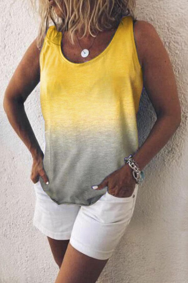 Gradient Scoop Neck Casual Tank top