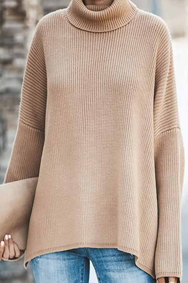 Batwing Turtleneck Knitted Slit Hem Sweater