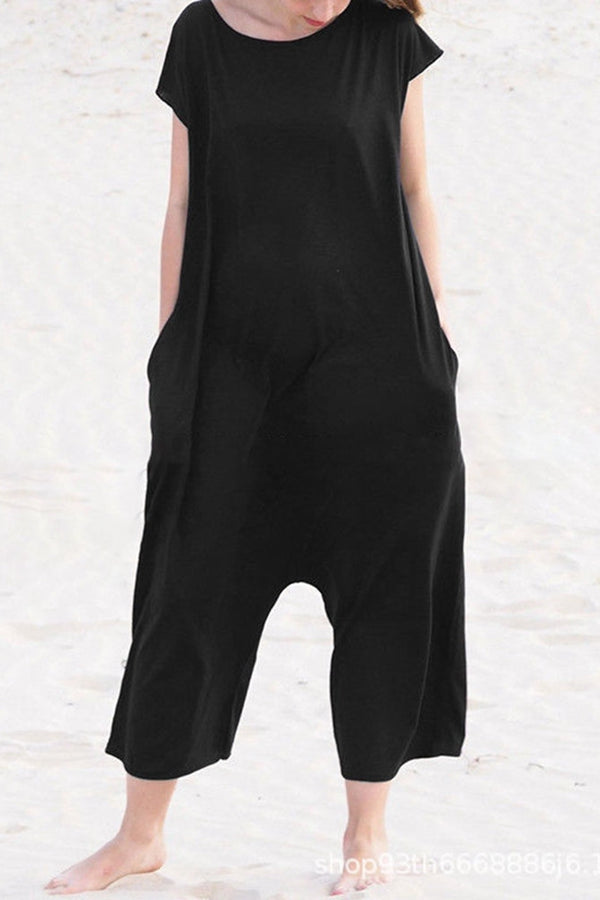 Solid Backless Side Pockets Casual Jumpsuits