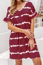 Striped Print Frill Sleeves V-neck Casual Mini Dress