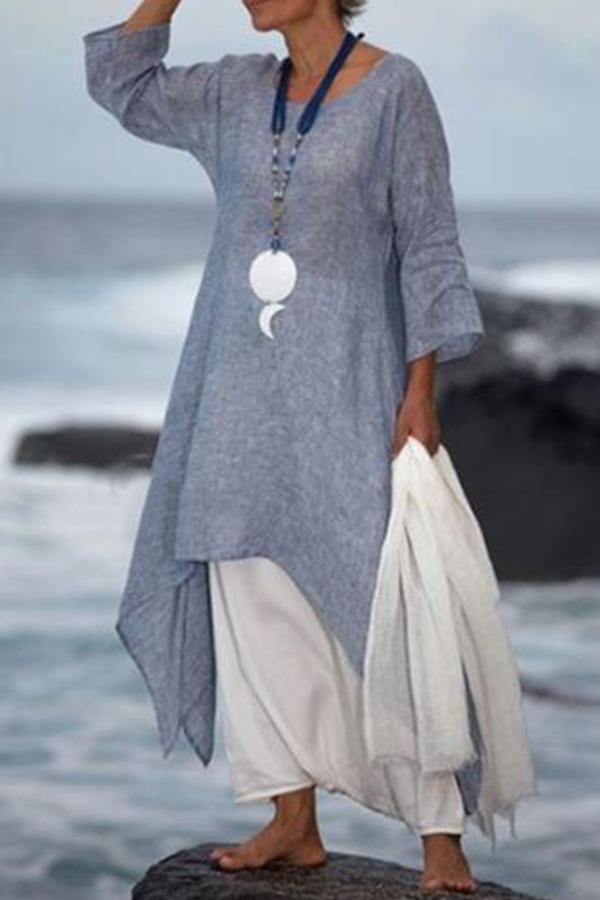 Linen Asymmetric Solid Long Sleeves Maxi Dress